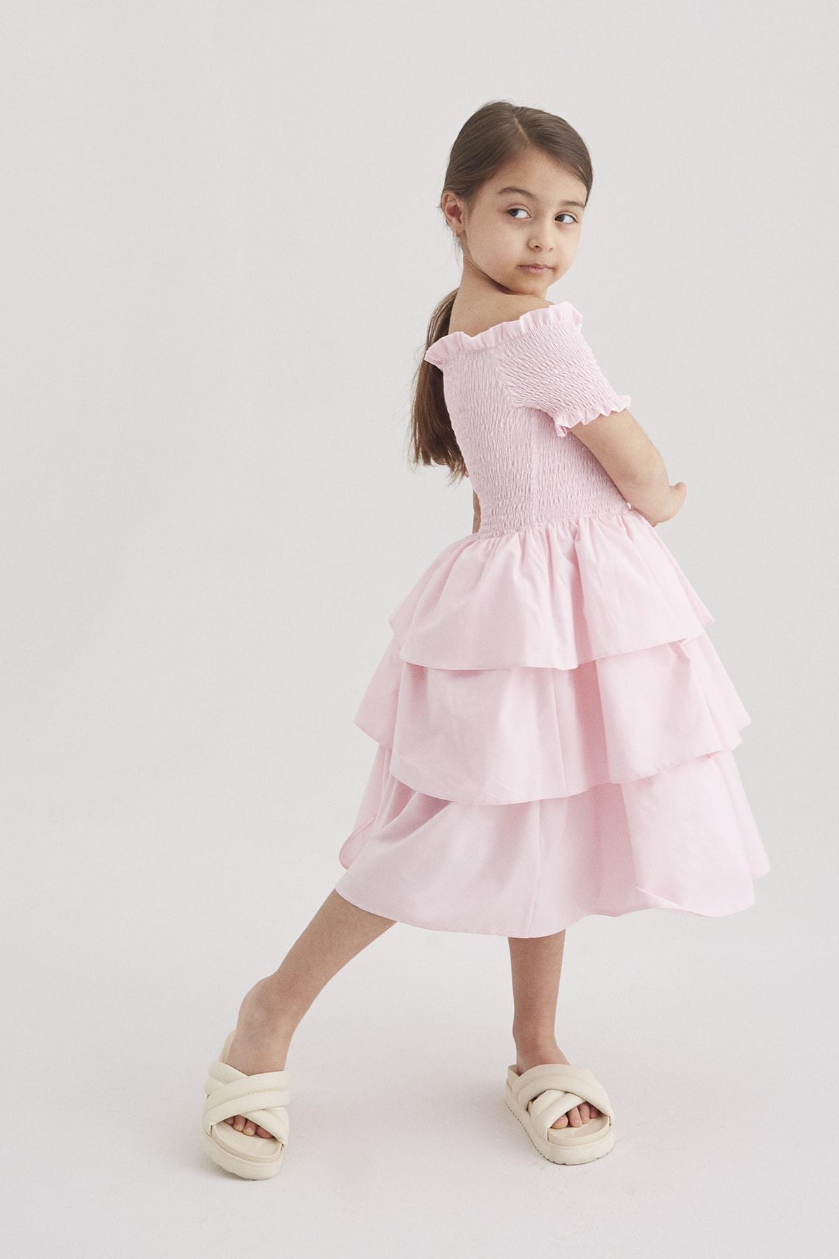 Kız Çocuk Pembe Lastik Detaylı Katlı Elbise