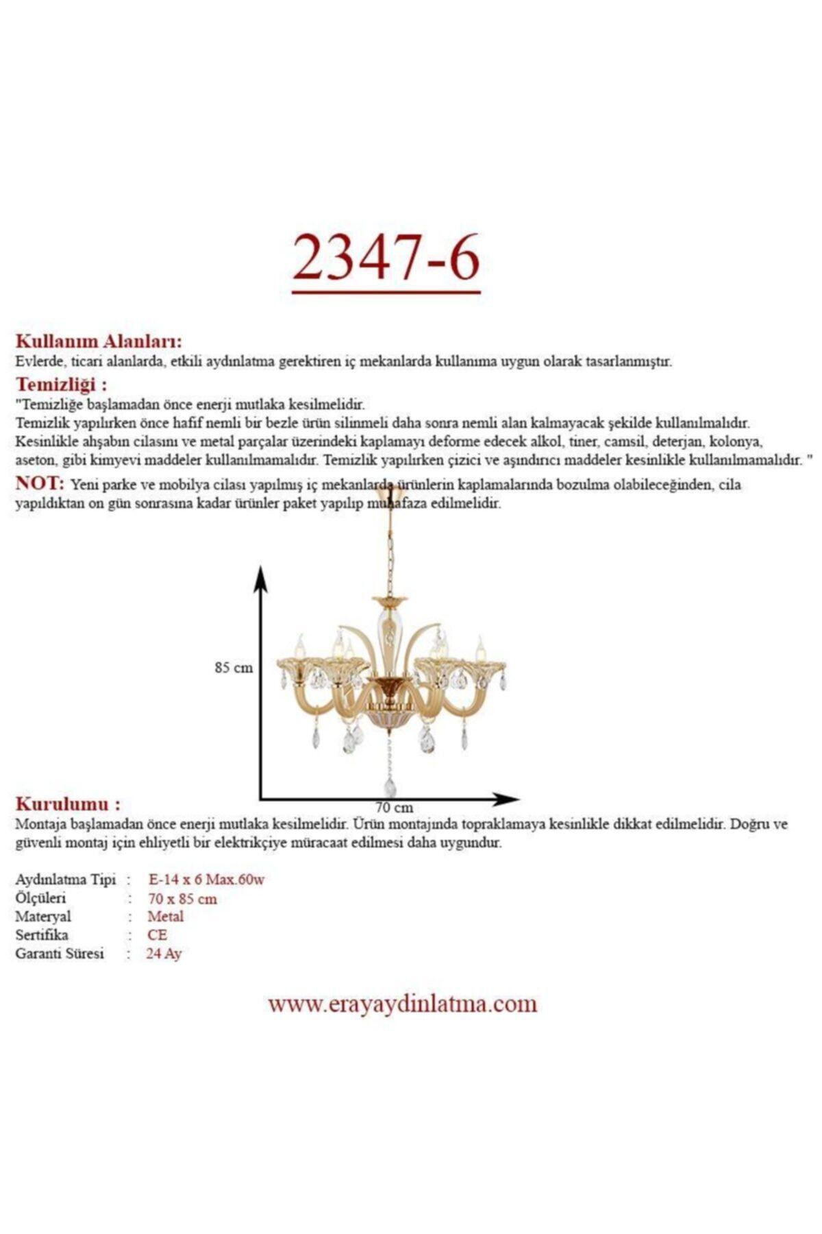 Eray Aydınlatma 2347-6 6 Lı Krem Klasik Avize