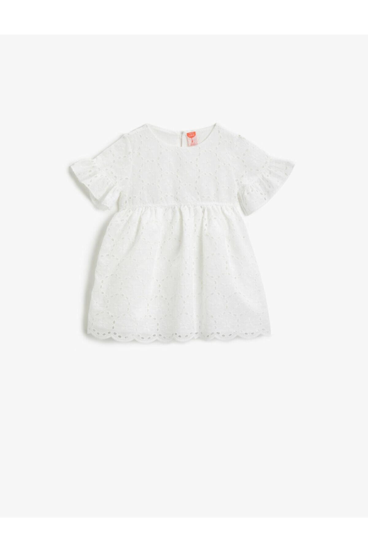 Kız Bebek Ekru Dantel Elbise