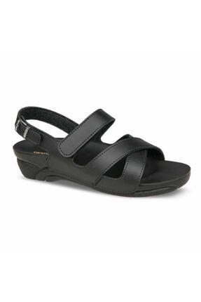 Ceyo Kadın Siyah Rahat Ortopedik Sandalet Venedik-8 0