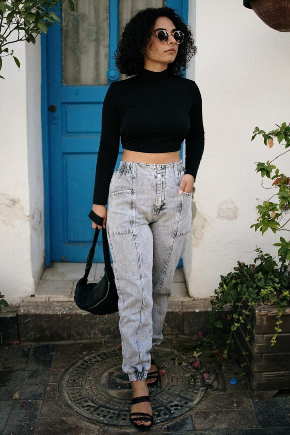 Kadın Gri Paçası Lastikli Mom Fit Jeans