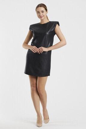 Sateen Kadın Siyah Vatkalı Elbise 1