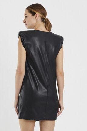 Sateen Kadın Siyah Vatkalı Elbise 4