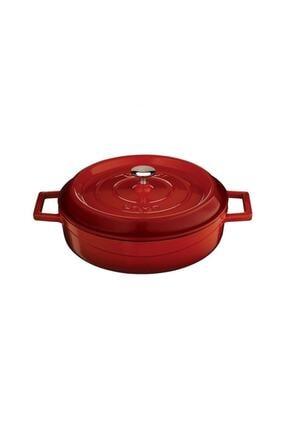 Lava Trendy Çok Amaçlı 24 Cm Döküm Demir Yayvan Tencere Kırmızı 1