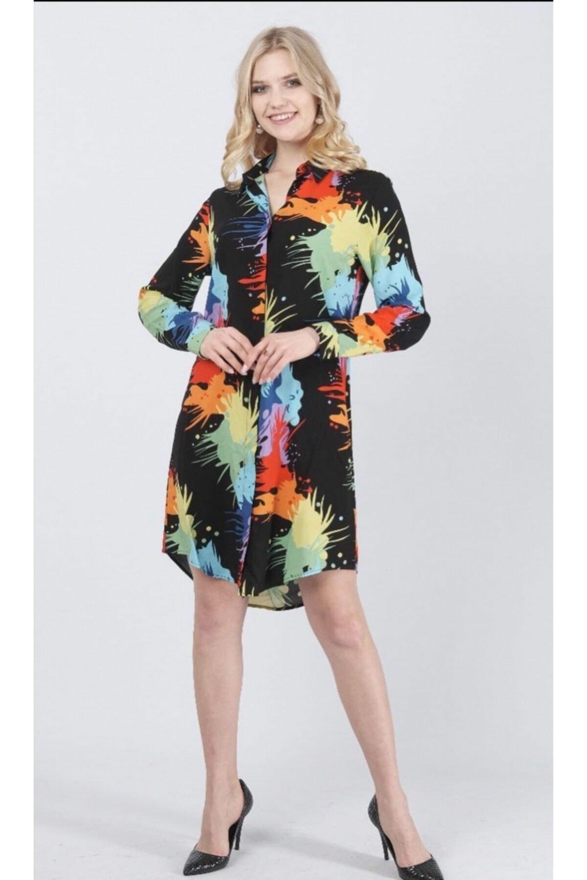 Kadın Viskon Tunik Gömlek Elbise Karışık Renk (SİYAH, SARI, KIRMIZI, YEŞİL)