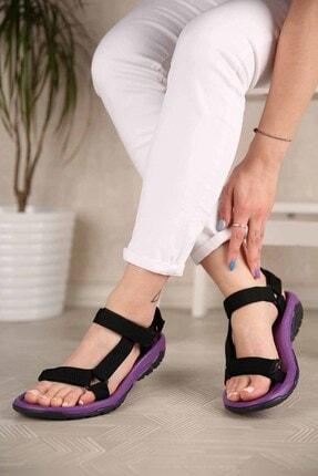 Ccway Kadın Siyah Mor Cırtlı Sandalet 0