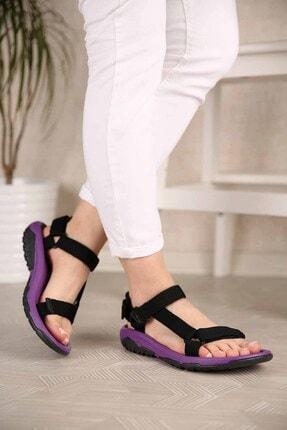 Ccway Kadın Siyah Mor Cırtlı Sandalet 1