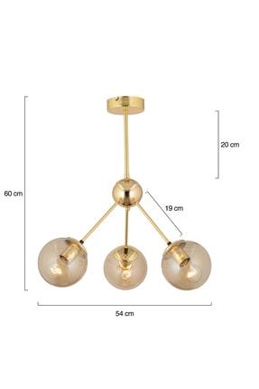 Apliqa Meyo 3lü Gold Bal Camlı Salon Avize 4