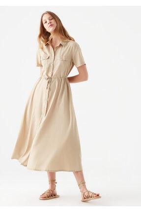 Mavi Düğmeli Bej Elbise 1