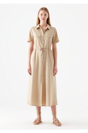 Mavi Düğmeli Bej Elbise 2
