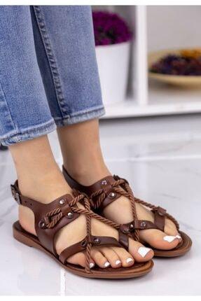 Erbilden Kadın Taba Halatlı Sandalet 0