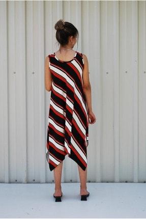 MGS LİFE Kadın Kırmızı Siyah Çapraz Çizgili Toka Detaylı Asimetrik Kesim Elbise 3