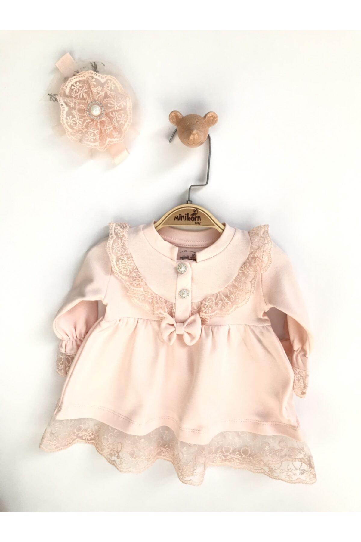 Kız Bebek Pembe Yeni Doğan Incili Dantel Elbise Set