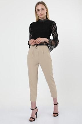 MD trend Kadın Bej Kemerli Pileli Havuç Kesim Ofis Pantolon 1