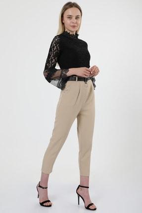 MD trend Kadın Bej Kemerli Pileli Havuç Kesim Ofis Pantolon 2