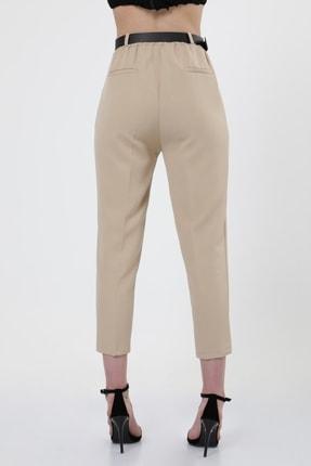 MD trend Kadın Bej Kemerli Pileli Havuç Kesim Ofis Pantolon 4
