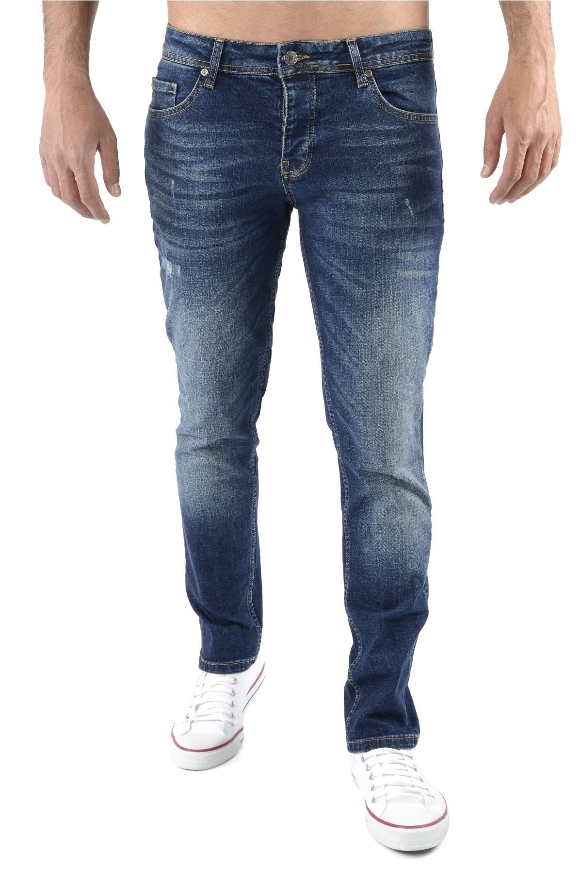 Erkek Lacivert Kot Pantolon Slim Fit Jean - C323