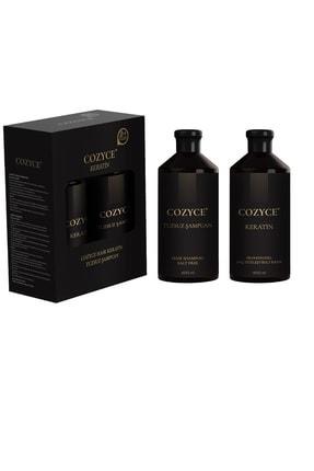 Cozyce Tuzsuz Şampuan 600 Ml + Brezilya Fönü Keratini 600 Ml Saç Düzleştirici Keratin Seti 1