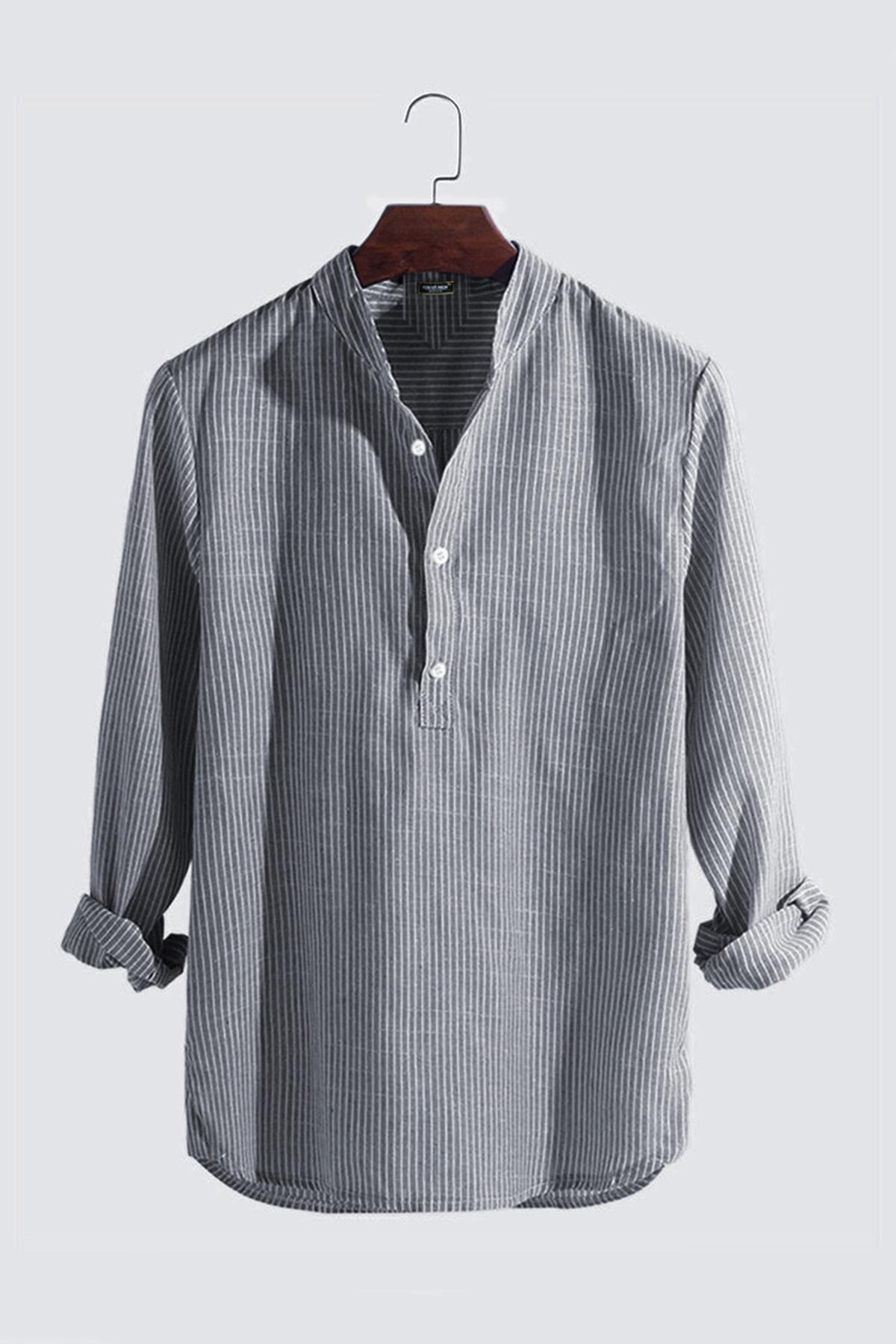 Erkek Hakim Yaka Uzun Kollu Çizgili Keten Gömlek Vavn301-0000003-1 Füme