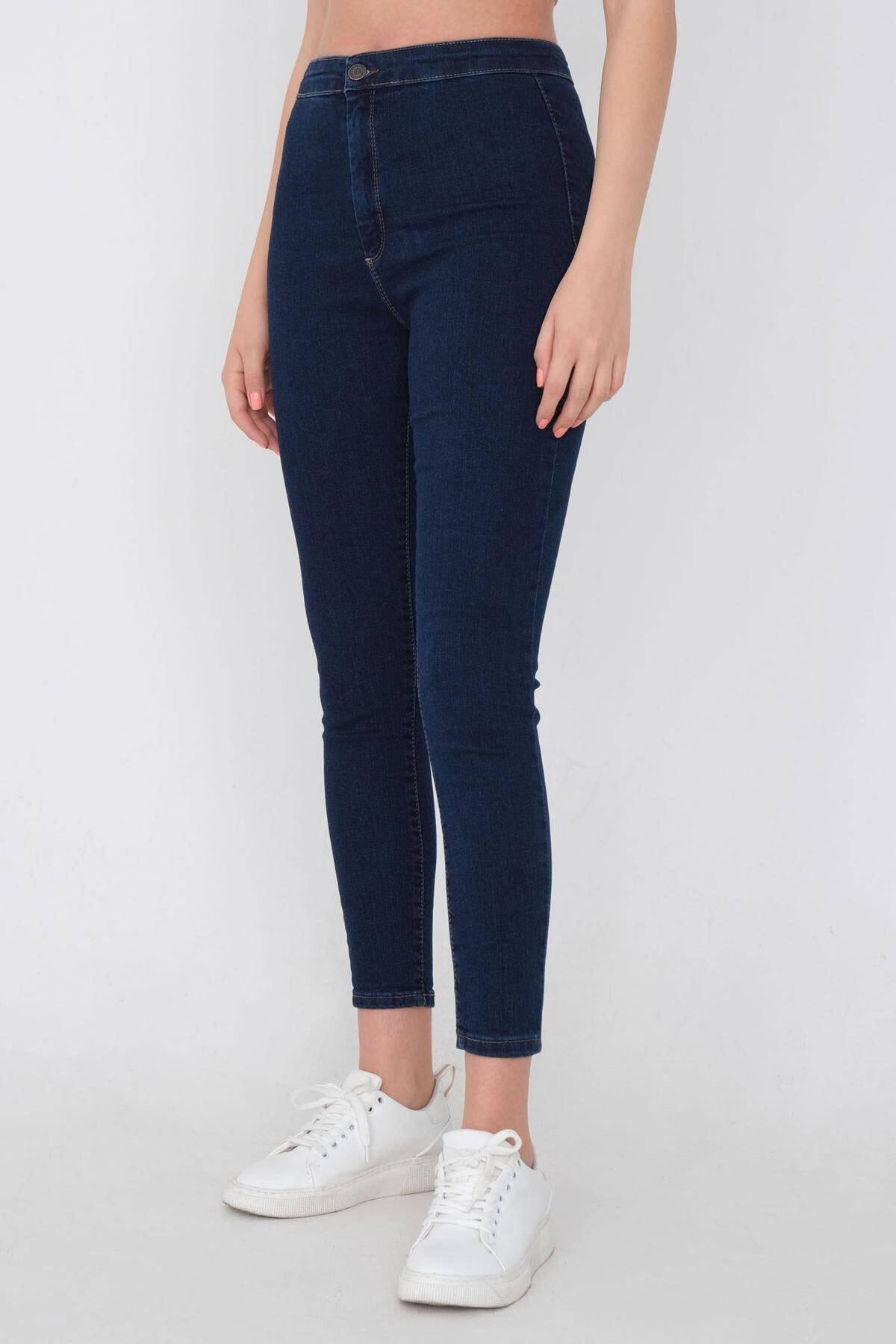 Addax Kadın Koyu Kot Rengi Yüksek Bel Pantolon Pn11178 - Pnu ADX-0000016107 1