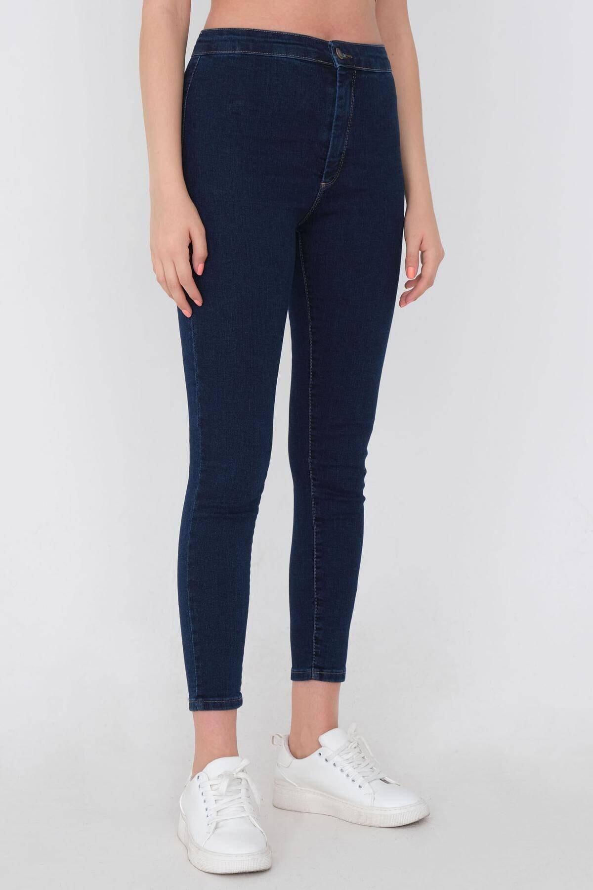 Addax Kadın Koyu Kot Rengi Yüksek Bel Pantolon Pn11178 - Pnu ADX-0000016107 2