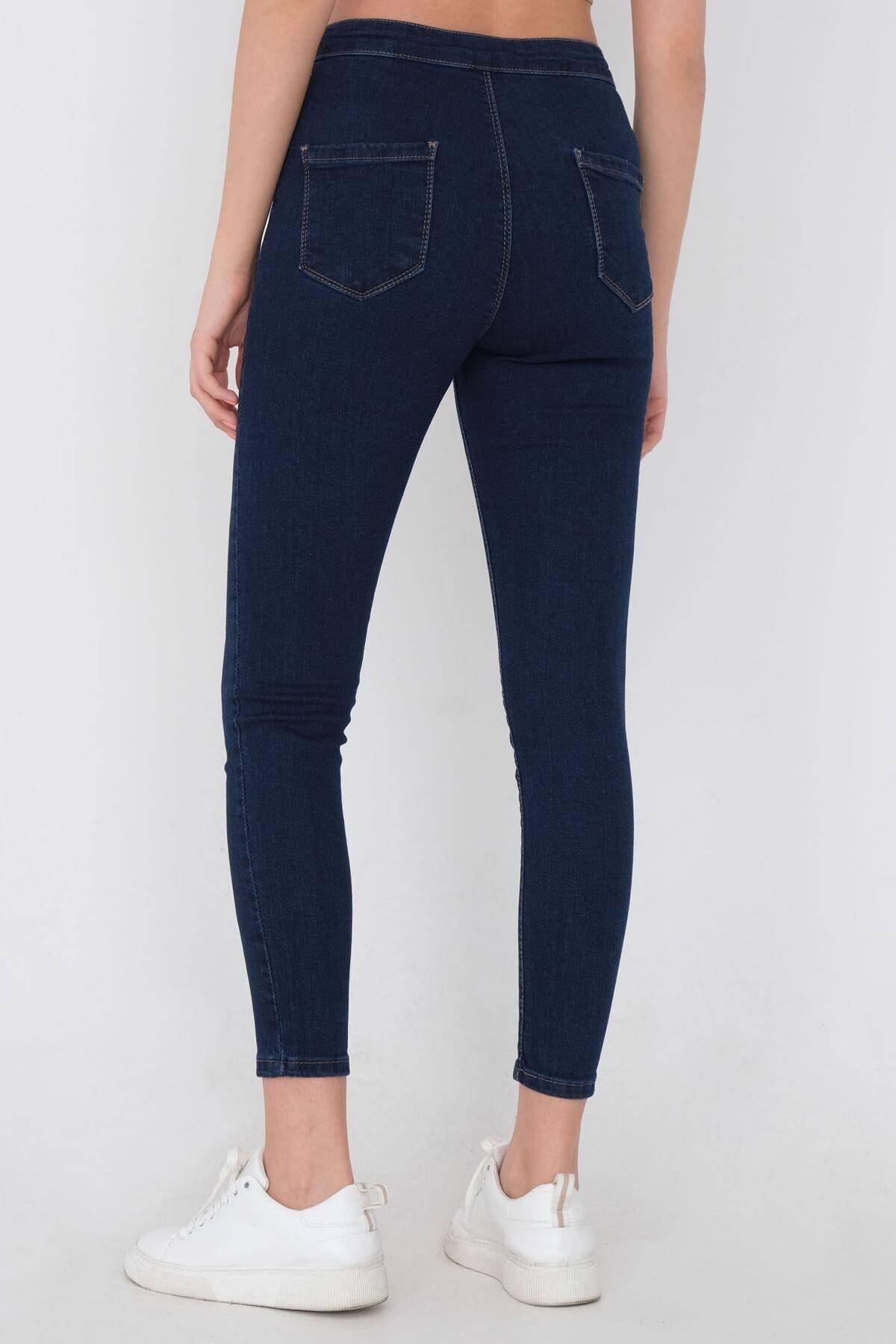 Addax Kadın Koyu Kot Rengi Yüksek Bel Pantolon Pn11178 - Pnu ADX-0000016107 4