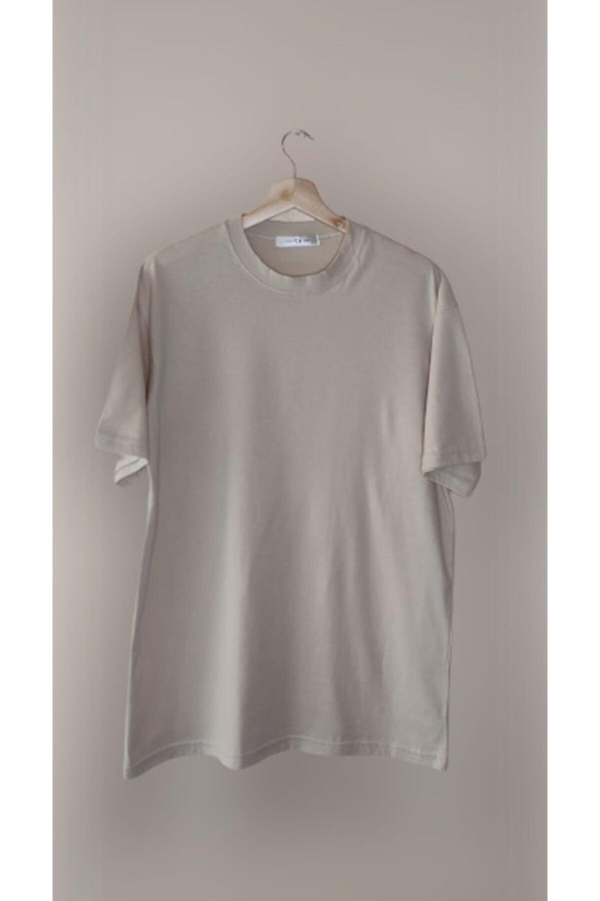Ünisex Bej Oversize Tişört