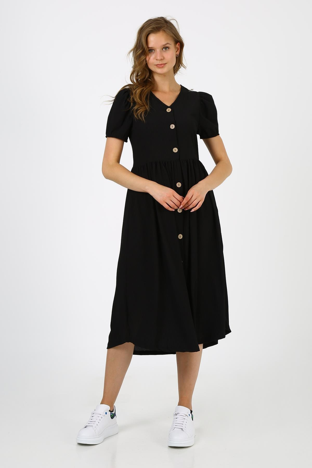 Kadın Siyah Önü Düğmeli Balon Kol Elbise (b21-4050)