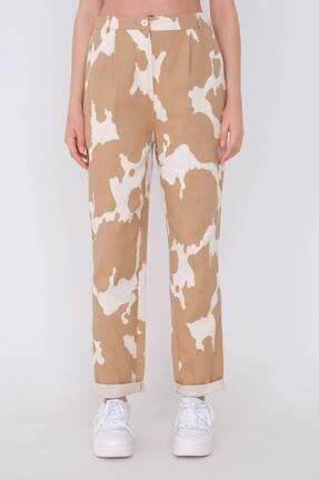 Addax Kadın Kahverengi Desenli Pantolon Pn03-0062 - 2
