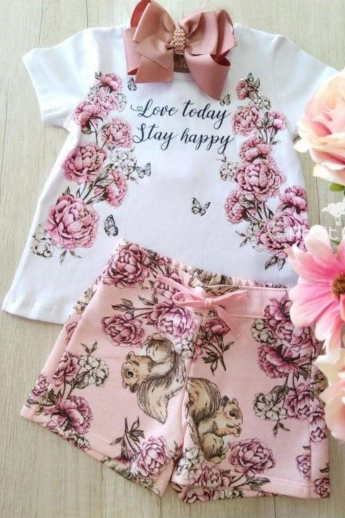 Kız Çocuk Love Happy Çiçekli Şortlu Takım