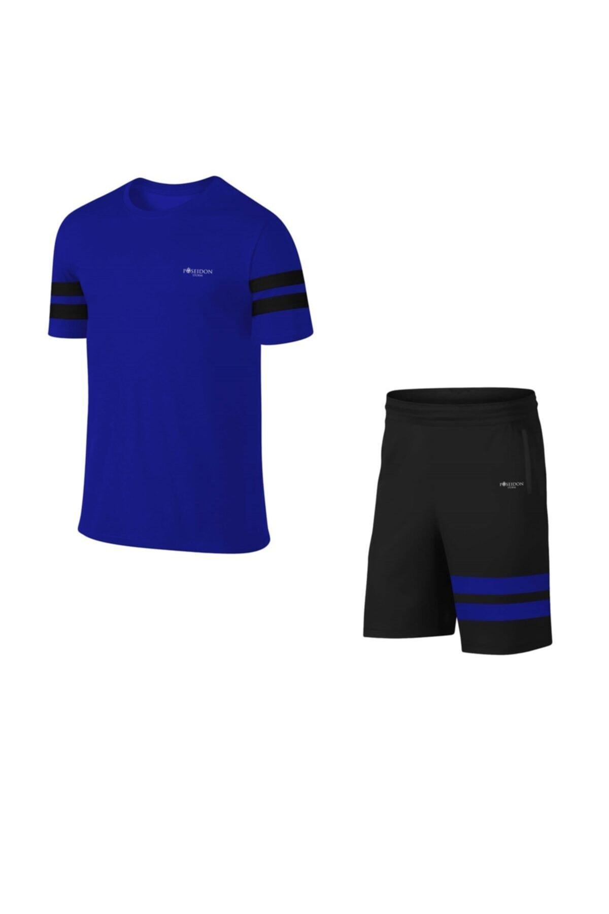 Erkek Mavi Günlük Sporcu Tişört Ve Şort Takımı S-3xl - Siyah Iki Bant - Md4