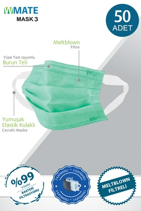 WMATE MASK3 50 Adet Medikal Yeşil Meltblown Filtreli 3 Katlı Yeni Nesil Maske 10'lu Özel Poşet 0