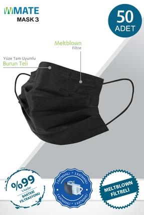 WMATE MASK3 50 Adet Siyah Meltblown Filtreli 3 Katlı Ipli Maske 10'lu Özel Poşette 0