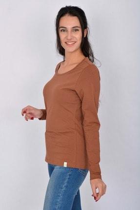 Letoile Pamuk Likralı Uzun Kollu Kadın T-shirt Kiremit 2