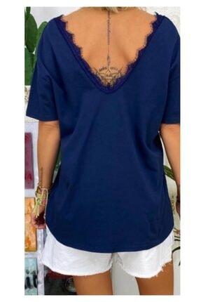 ELBİSENN Yeni Model Kadın Ön Arka V Yaka Gupur Detay Bluz(lacivert) 0