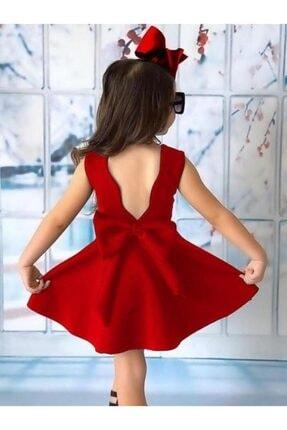 Riccotarz Kız Çocuk Fiyonklu Sırt Dekolteli Kırmızı Elbise 1