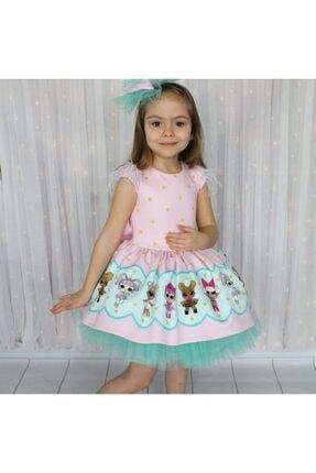 Riccotarz Kız Çocuk Yeşil Tütülü Lol Baby Pembe Elbise 3