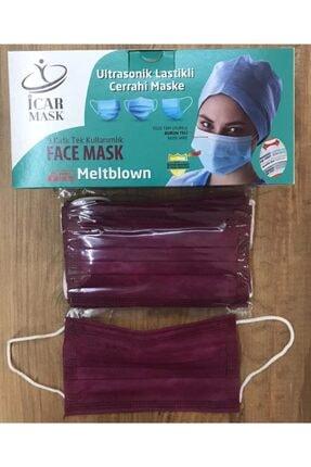 İCAR MASK 50 Adet Bordo Renk Meltblown Maske Üç Katlı Telli Tek Kullanımlık Üts Kayıtlı 0