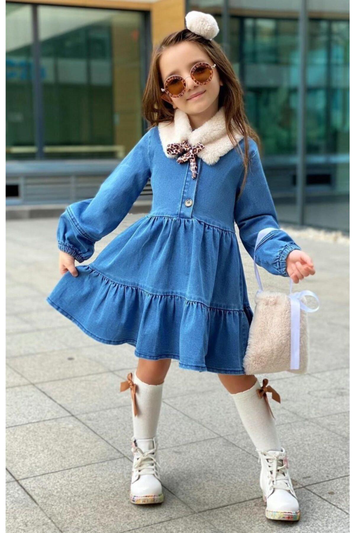 Kız Çocuk Ekru Yakalı Denim Elbise