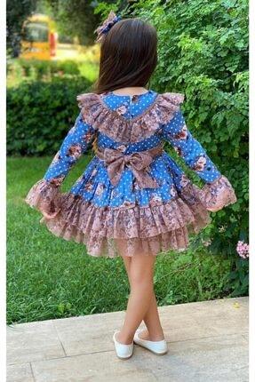 Riccotarz Kız Çocuk Çiçek Dantelli Puanlı Mavi Elbise 1