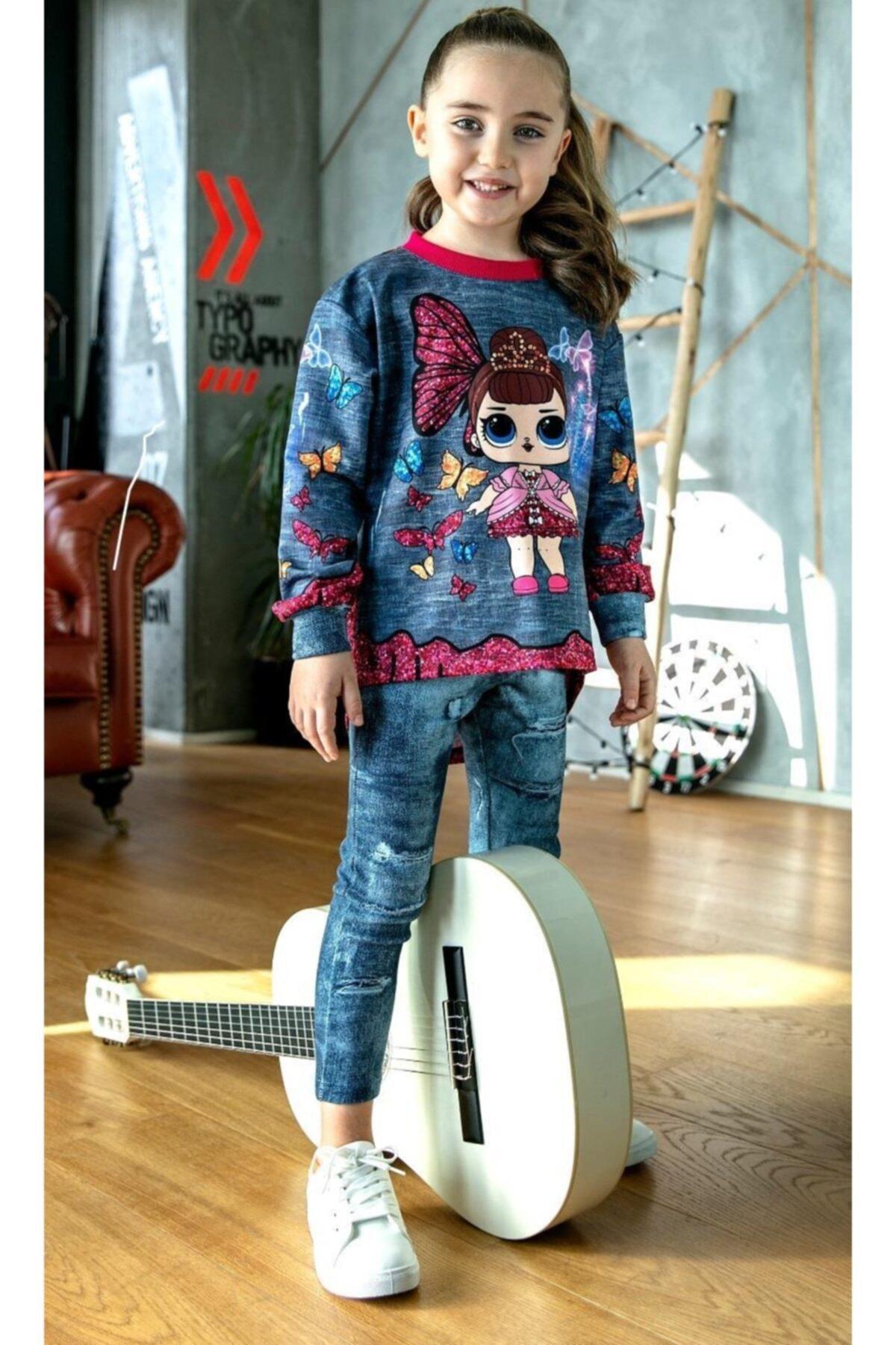 Kız Çocuk Kelebekli Taytlı Takım
