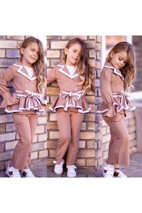 Riccotarz Kız Çocuk Ispanyol Paça Kahverengi Pantolonlu Takım 3