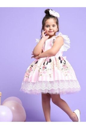 Riccotarz Kız Çocuk Pembe Minnie Çizgili Dantel Işlemeli Elbise 2