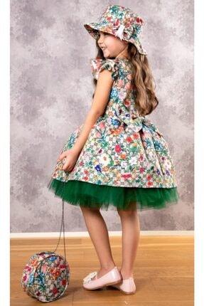 Riccotarz Kız Çocuk Green Flowers Tütülü Elbise 1