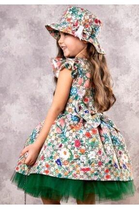 Riccotarz Kız Çocuk Green Flowers Tütülü Elbise 3