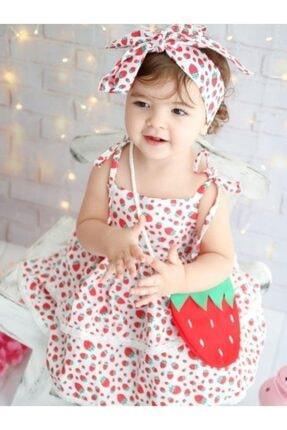 Riccotarz Kız Çocuk Kırmızı Beyaz Strawberry Girl Elbise 2