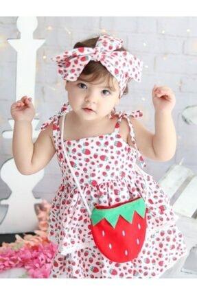 Riccotarz Kız Çocuk Kırmızı Beyaz Strawberry Girl Elbise 3