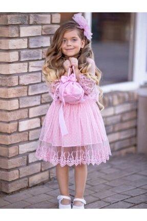 Riccotarz Kız Çocuk Prenses Güpürlü Çantalı Pudra Elbise 2