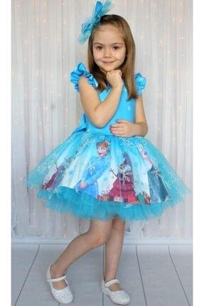 Riccotarz Kız Çocuk Karlar Kraliçesi Mavi Elbise 4