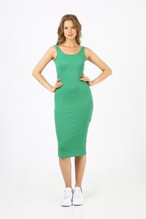Kadın Yeşil Fitilli Uzun Elbise (b21-4140) B21-4140